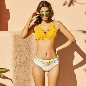 Other - Yellow Floral Lily Strappy Bikini Swimsuit